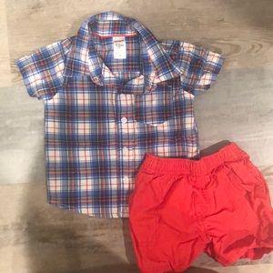 Red, white, & blue plaid shirt and shorts set